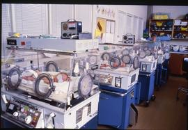 BCIT School of Health Sciences, Neonatal pediatrics CCU, incubators, ca. 1987 [3 of 3 photographs]