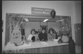 Two cat costumes and one Star Trek costume, Financial Services staff during Halloween [4 of 5 pho...