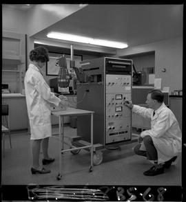 B.C. Vocational School image of a man and a women working with electronic equipment in the Biomed...