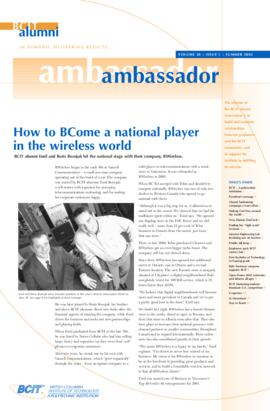 BCIT Alumni Association Newsletter 2002 Summer Alumni Ambassador