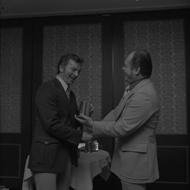 Hockey presentation, Plaza 500, 1972; coach receiving an award [2 of 2]