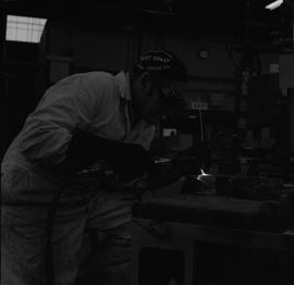 Welding, 1968; man wearing protective goggles welding [6 of 6]