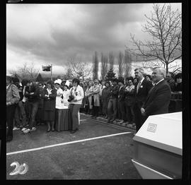 Merger of BCIT and PVI celebrations April 1986; outdoor crowd/audience