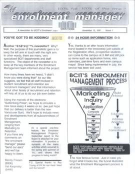 BCIT The Enrolment Manager, vol.1, no.1, 1991-11-15