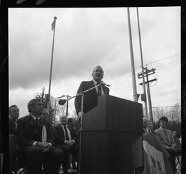 Merger of BCIT and PVI celebrations April 1986; man talking at outdoor podium [4 of 4 photographs]