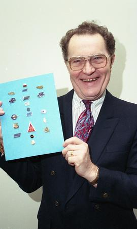 Kelly Gervais, Technology Centre, January 1995, man holding up board with pins on it [2 of 3 phot...