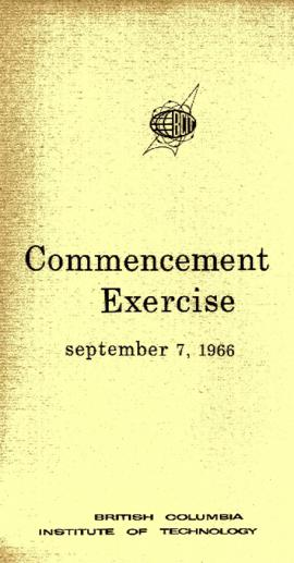 BCIT Commencement Exercise, September 7, 1966