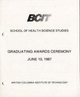 BCIT School of Health Science Studies, Graduating awards ceremony; June 10, 1987, program