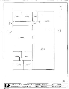 NE18, HUB, Facilities inventory Burnaby Bldg. no. 21, floor plan, 1982