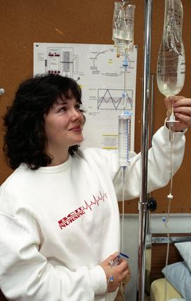General Nursing, nursing student and intravenous drip bag [3 of 3 photographs]