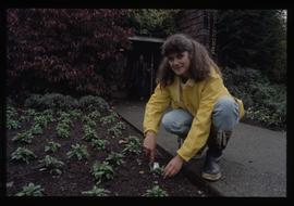 Horticulture 1990, female student in garden