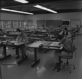 Map drafting, Victoria, 1968; map drafting classroom with students sitting at desks working [2 of 2]