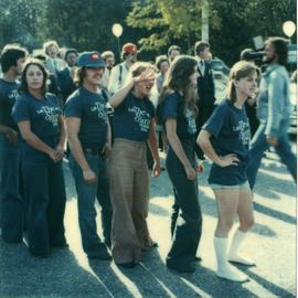 Student Rally 1984 ; students standing in a line