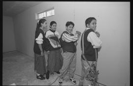 Coast Salish youths using power tools during gym construction [3 of 8 photographs]
